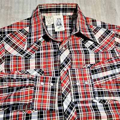 1970s Men's Shirt Styles – Vintage 70s Shirts for Guys Vintage 70s Kennington California Plaid Western Shirt 1970s Pearl Snap EUC Sz M $48.02 AT vintagedancer.com