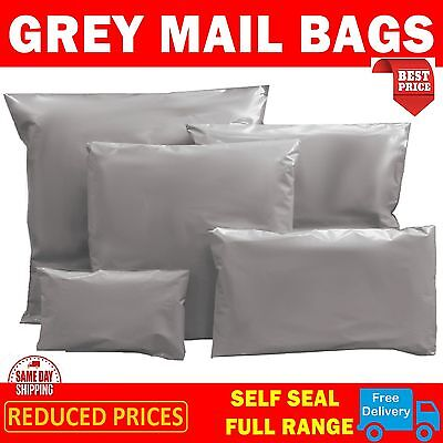 MIXED SIZES X 50 Grey Postal Bags Mailing Mail Parcel Post Plastic Strong Poly 2