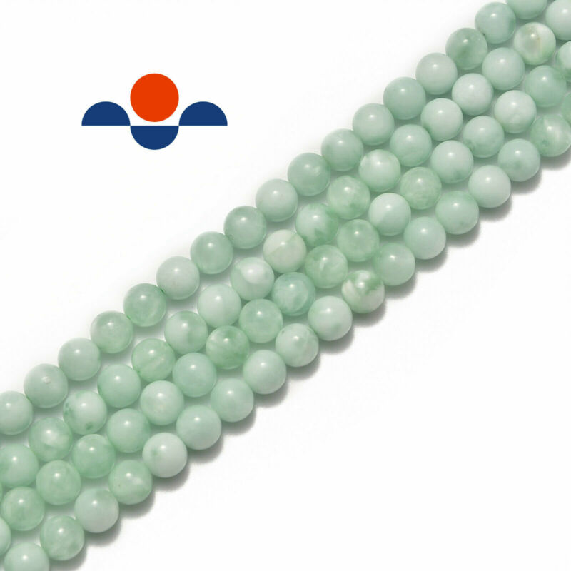 """Green Moonstone Smooth Round Beads 4mm 6mm 8mm 10mm 12mm 15.5"""" Strand"""