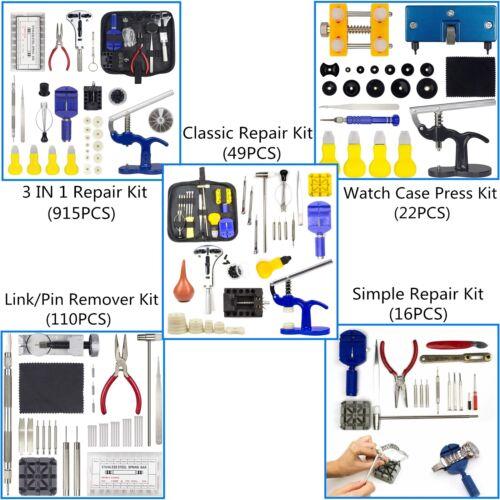 Watch Repair Kit Case Opener Holder Link/Pin Remover Watch Press + 12 Nylon Dies