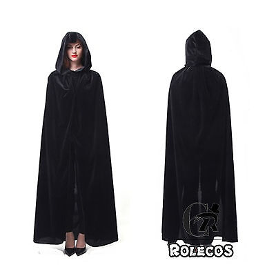 Adult Velvet Hooded Cloak Wicca Robe Medieval Witchcraft Larp Black Long Cape - Black Cape Hood