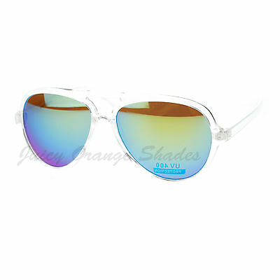 Plastic Aviator Sunglasses Clear Frame Multicolor Mirror (Clear Frame Mirrored Sunglasses)