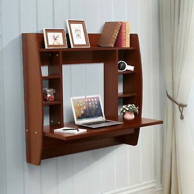 Brown Floating Wall Mounted Office Computer Desk Home Office Table with Storage