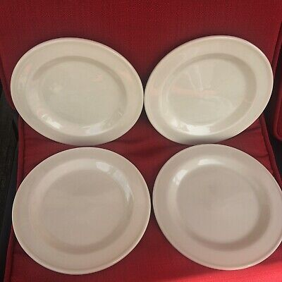 Roseville;Workshop Gerald Henn; Cream/ivory Spongeware; Set Of 4 Salad Plates