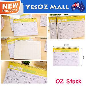 NEW Monthly Plan Schedule Spiral Coil Notebook Sketchbook Planner Agenda