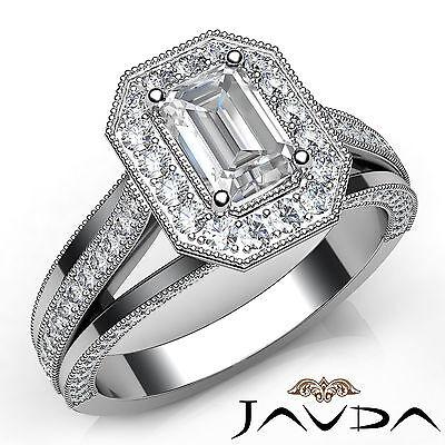 Emerald Cut Halo Pave Set Diamond Engagement Ring GIA G VS1 18k White Gold 1.4Ct