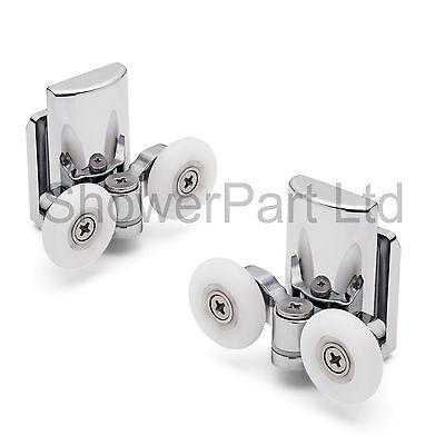 2 x Twin Bottom Zinc Alloy Shower Door Rollers/Runners/Wheels 25mm wheel L067