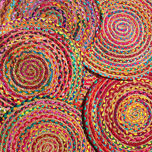 Fairtrade Braided Round Jute Amp Cotton Rag Rug Bright Multi