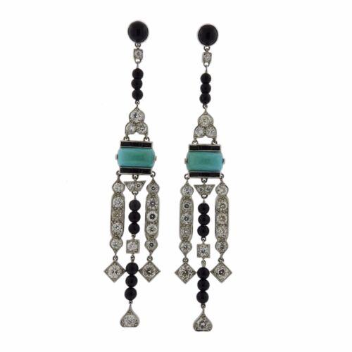Platinum Diamond Onyx Turquoise Earrings