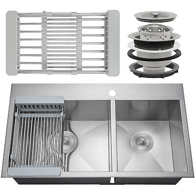 """33"""" x 22"""" x 9"""" Double-barrelled Basin Top Mount Stainless Steel Kitchen Sink Tray Drain"""
