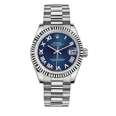 Rolex Womens Blue Face Oyster Perpetual Roman Numerals 176234 26 mm Watch SS
