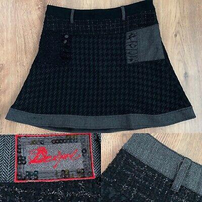 Desigual 42 14 Skirt Mini Tweed Boucle Knit Black Grey Steampunk Goth W34 Flaw