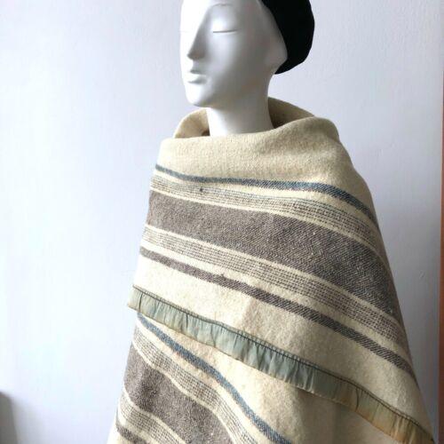 """Antique 1930s 1940s Guatemala Handwoven Rustic Wool Woolen Blanket 81"""" X 50"""""""