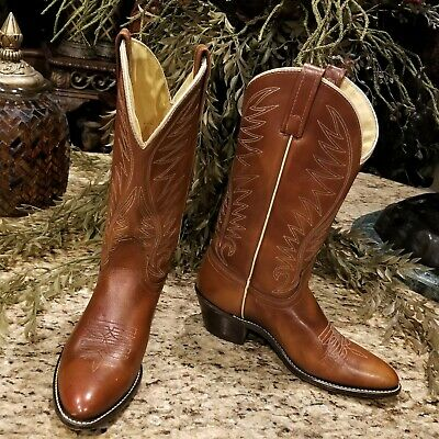 Vintage Womens ACME British Tan Leather Western Cowboy Boots 53624 US Size 8