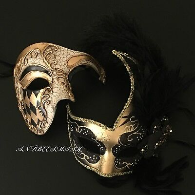Halloween Masquerade Ball Party Black Gold Phantom Mask with Feather Mask