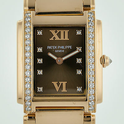 Patek Philippe 4910-11,Twenty-4 18K Rose Gold Diamond Chocolate Dial Archive PPS