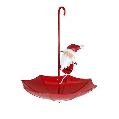 Santa Umbrella Garden Bird Feeder – Novelty Metal Tree Christmas Fountasia