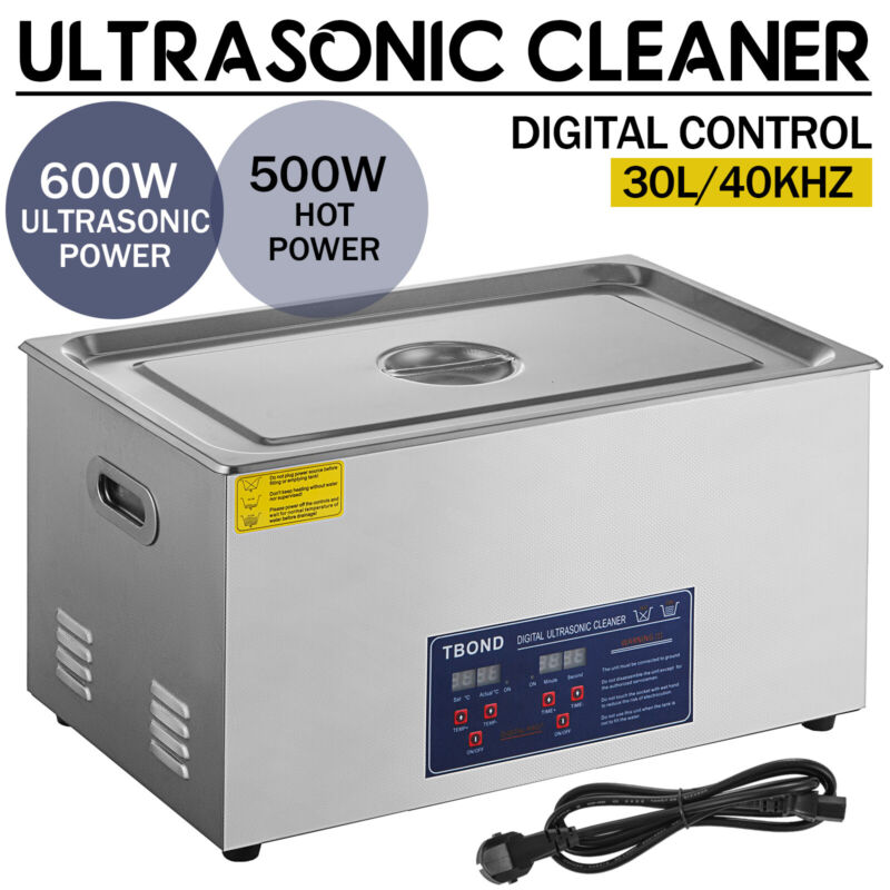 30L Ultrasonic Cleaner Stainless Steel Industry Heated Heater w/Timer