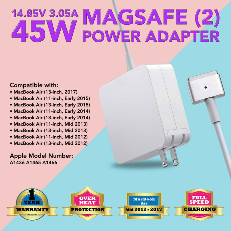"""45W AC Charger Power Adapter Cord for 2013-2015 Apple Macbook air 11"""" Magsafe 2"""