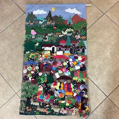 Vintage Peruvian Tapestry wall hanging 19x34