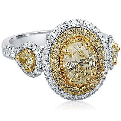 2 Carat GIA Certified Oval Cut Yellow Diamond Engagement Ring 18k White Gold