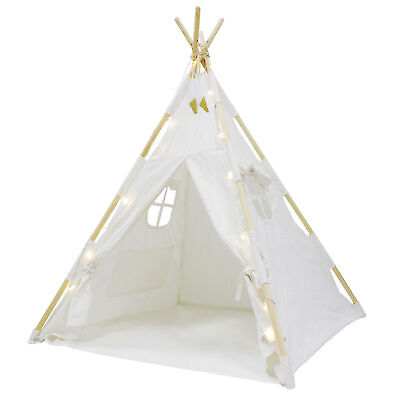 Kids Teepee Natural Cotton Play Tent Tents Playhouse Toddlers Fun W  LED Lights