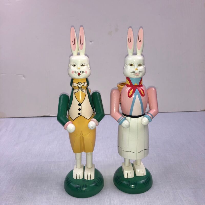 """Easter Bunny Candle Holders Wooden Boy Girl White Pink Yellow Green 11.5"""" Lot 2"""