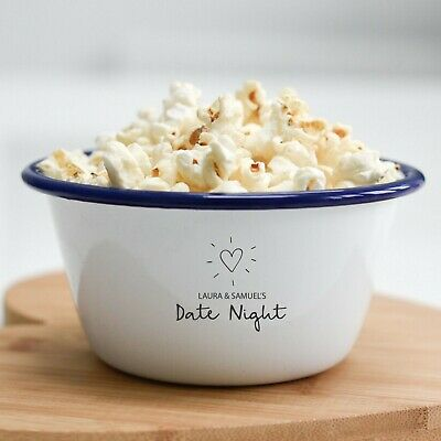 Personalised Date Night (V2) Movies Popcorn Bowl Couples Valentine's Day Gift - Personalized Popcorn Bowl