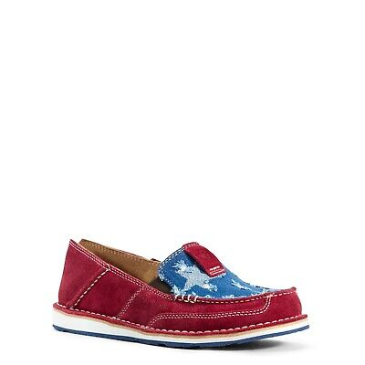 Ariat® Ladies Cruiser Red & Star Printed Blue Denim Shoes 10028602 (Red Star Shoes)
