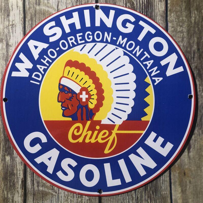 VINTAGE WASHINGTON GASOLINE INDIAN IDAHO OREGON MONTANA PORCELAIN METAL OIL SIGN