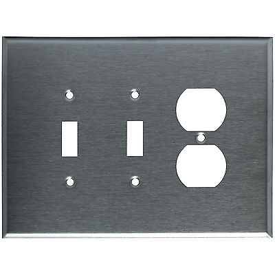 (Wall Switch Plate Cover Oversized Stainless Steel 3-Gang 2 Toggle 1 Duplex)