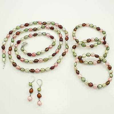 VTG HONORA Multicolor Cultured FRESHWATER PEARL Necklace Bracelets Earrings Set