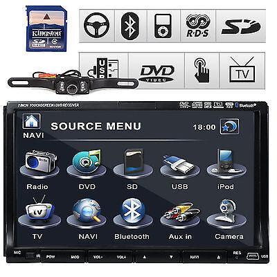 "SONY Lens GPS Map+CAM 7"" HD Double 2 Din Car Radio CD DVD Player 3D Bluetooth TV"