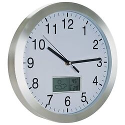 Trademark Weather Station Wall Clock - 12 inch Aluminum Celcius