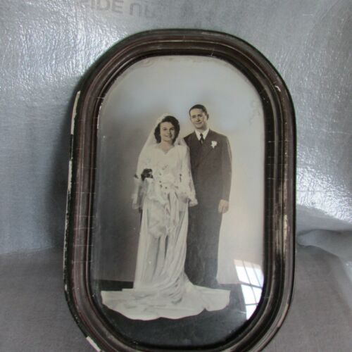 Vintage Oval Wedding Picture Photograph Frame Convex Bubble Glass f
