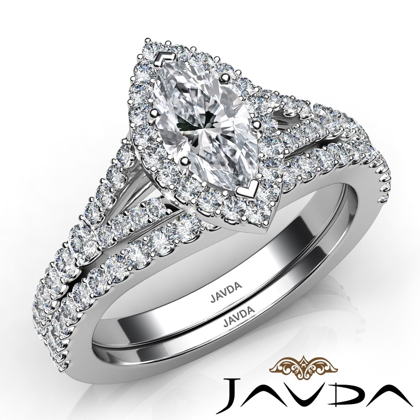 2.02ctw Halo Bridal Set Split Shank Marquise Diamond Engagement Ring GIA F-SI1 1