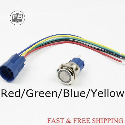 Momentary Push Button Switch 12v Stainless Steel Led Self-reset Angeleye Led