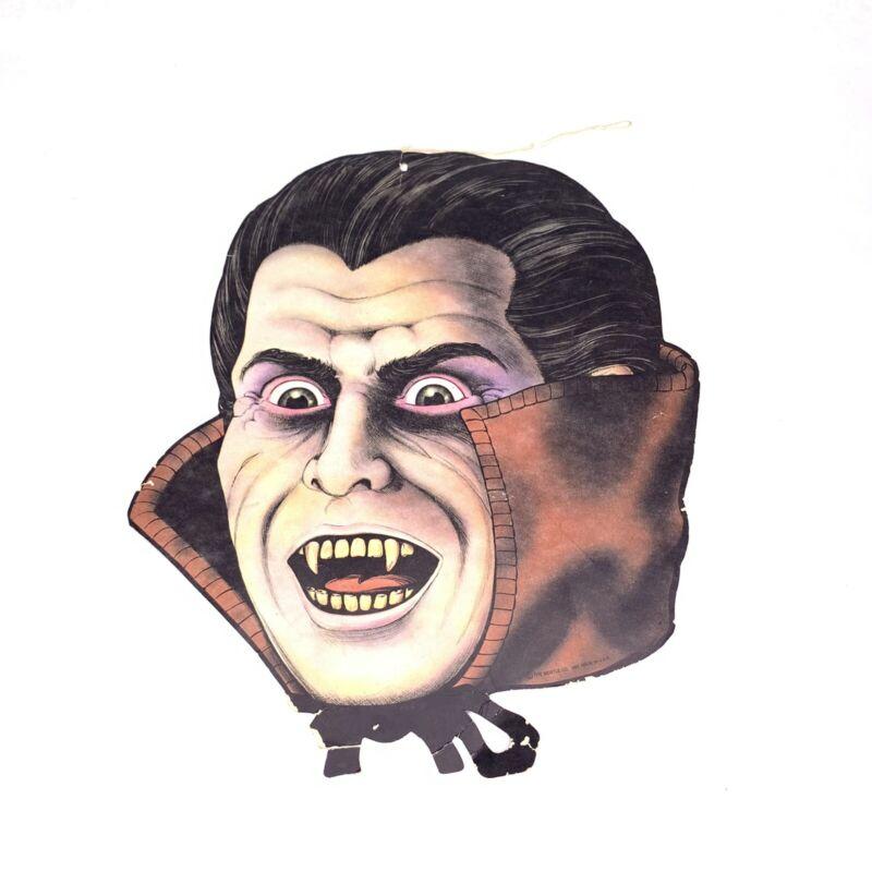 Vintage 1983 Beistle Vampire Head Cardboard Die Cut Halloween Decoration Dracula