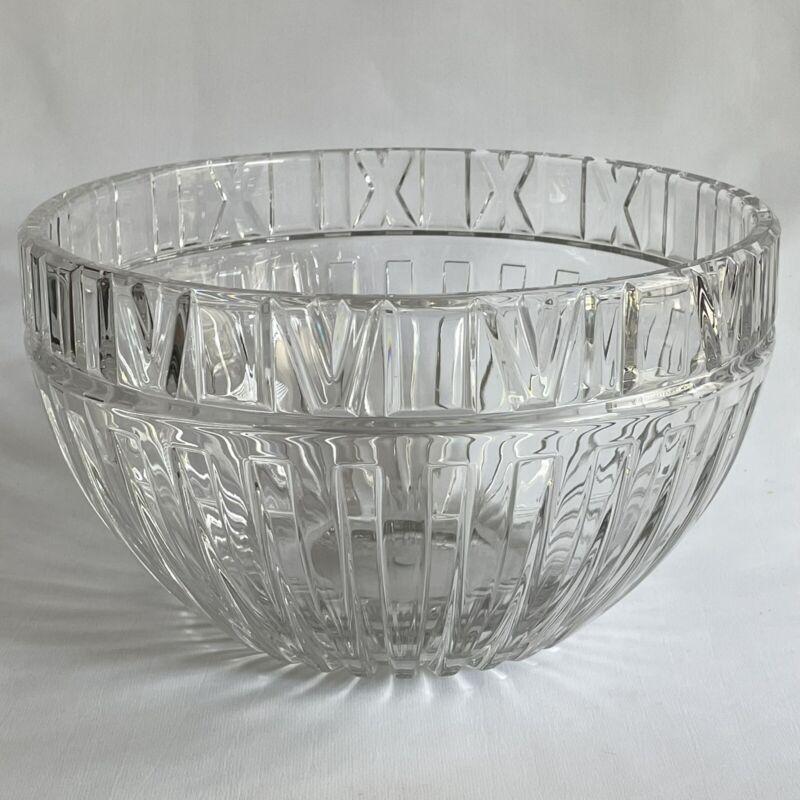 "Large 10"" Tiffany & Co Atlas Crystal Bowl Roman Numerals"