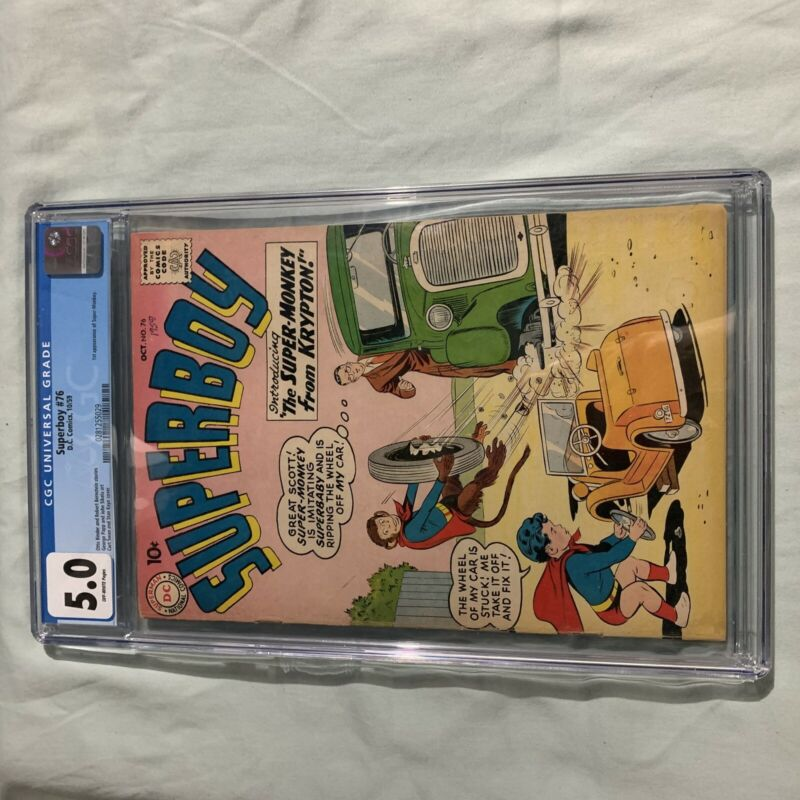 SUPERBOY #76 cgc 5.0 Silver Age First BEEPO Super Monkey Appearance 1959