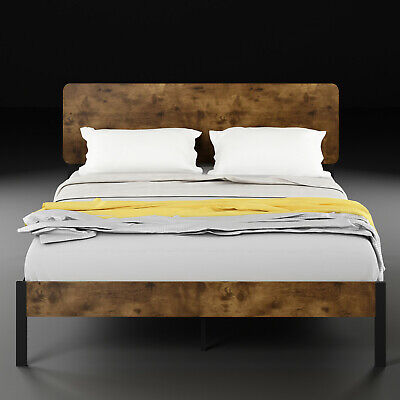 Queen Full Twin Size Metal Platform Bed Frame with Rustic Wood Headboard Brown Wood Metal Headboards