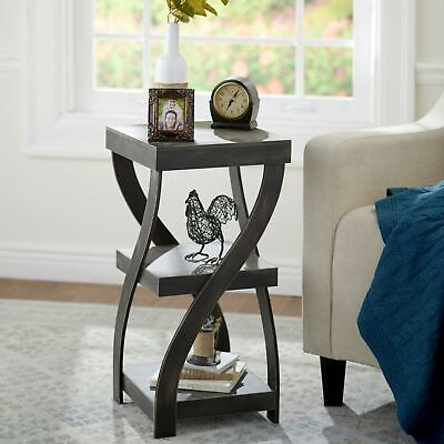 Twisted Side Table - Modern Accent Table with Distressed Finish