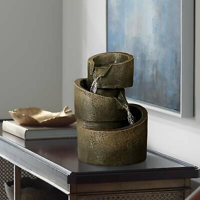 "Rustic Zen Indoor Tabletop Water Fountain 9 3/4"" Cascading for Table Desk Office"