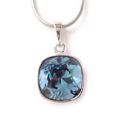 Navy Blue Crystal Drop Necklace w/ 12mm Swarovski Cushion Cut Square Pendant - Crystal Drop Pendant