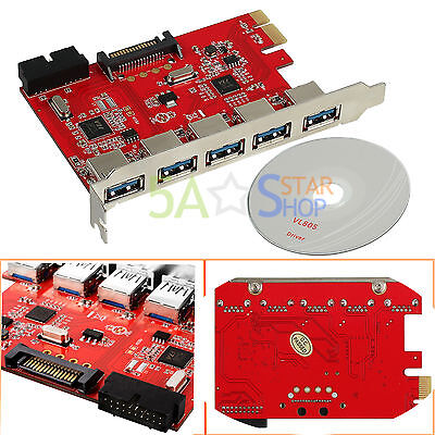5 Port PCI-E Express to USB 3.0 HUB Expansion Card Adapter 19pin for WIN 10 7 8