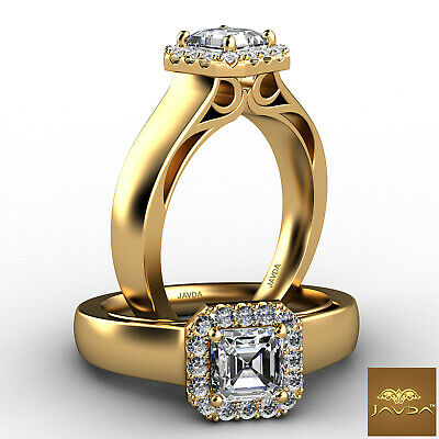 Asscher Cut Diamond Halo Pre-Set Engagement Ring GIA F VS2 18k Yellow Gold 0.7Ct