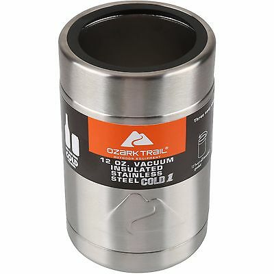 Ozark Trail 12 Ounce Vacuum Insulated Can Cooler with Metal Gasket Free Shipping