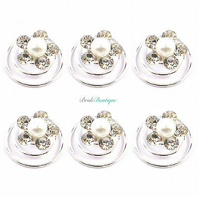 Bridal Wedding Silver Crystal & Pearl Flower Hair Coils Spirals Twists Pins HP16