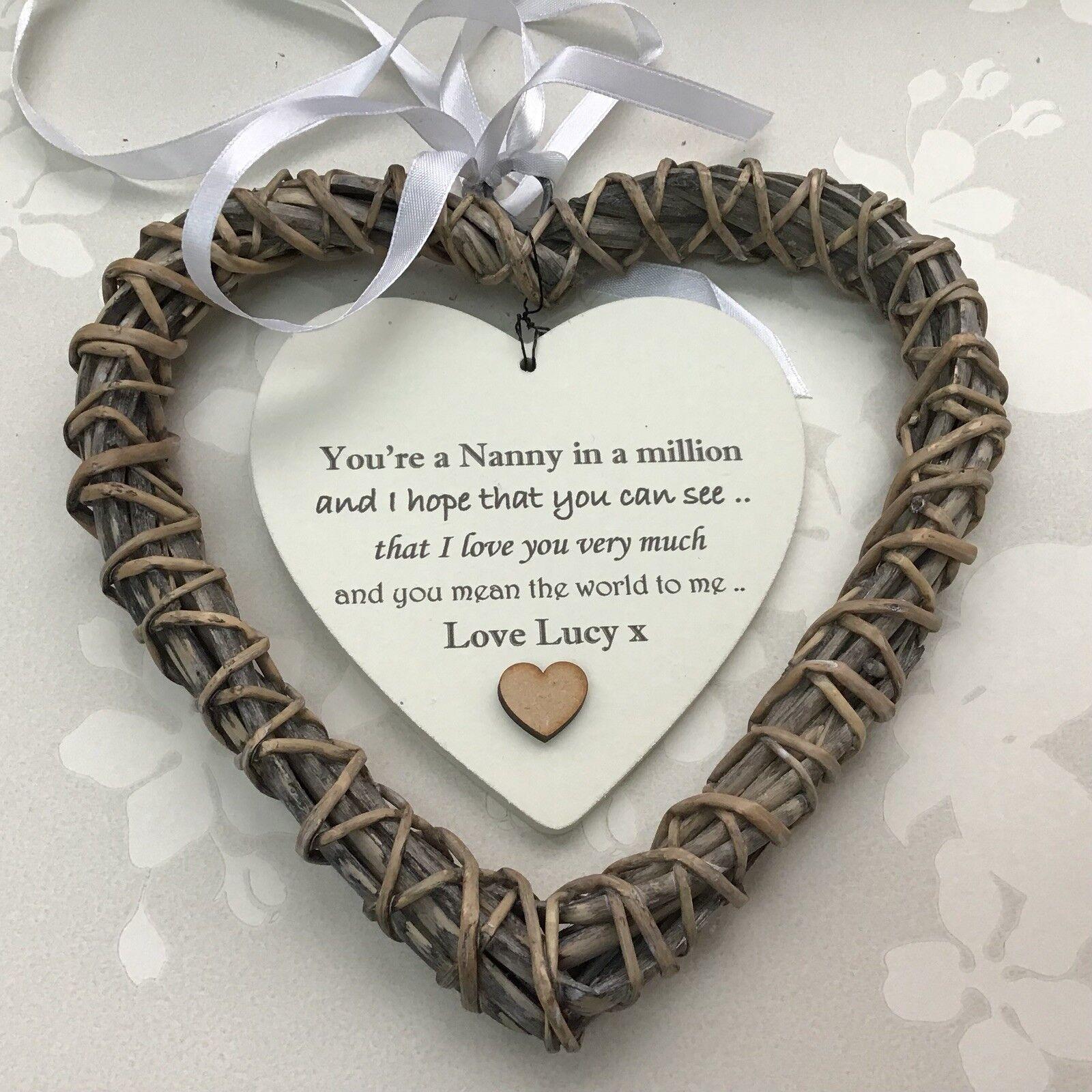 Shabby personalised Chic NANA Nanny NANNIE Granny ~ ANY NAMES Gift Willow Heart - 233008521278