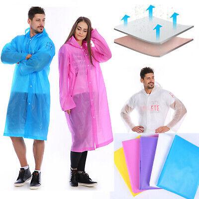 Unisex Clear EVA Raincoat Waterproof Jacket Hooded Rain Coat Poncho Rainwear